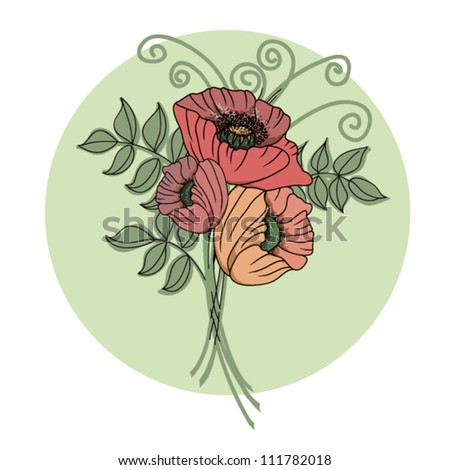 Colorful floral background with poppies - stock vector