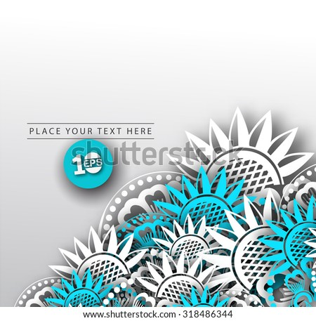 Colorful floral blue and white abstract background, eps10 vector - stock vector