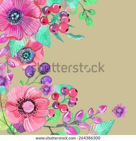 Colorful floral card with leaves and flowers, watercolor illustration. For design of  invitation, wedding or greeting cards, VECTOR - stock vector
