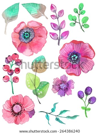 Colorful floral collection with leaves and flowers, watercolor illustration. For design of  invitation, wedding or greeting cards, VECTOR - stock vector