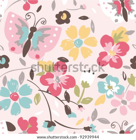 colorful floral nature seamless pattern background - stock vector