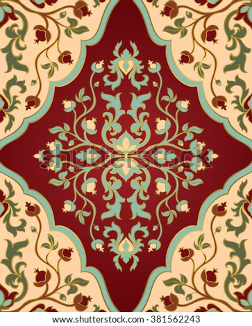 Colorful, floral ornament. Template for oriental carpets, textiles, shawl and any surface. Seamless vector pattern of gold contours on a red background.