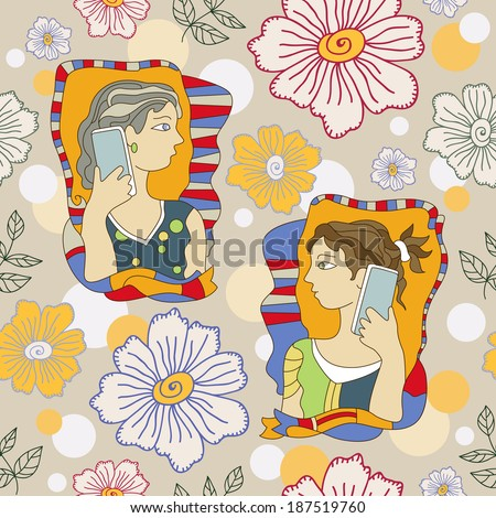 colorful floral pattern with girls talking on the phone. Vector image. - stock vector