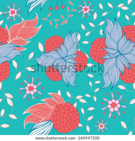 Colorful floral seamless background pattern. Vector illustration