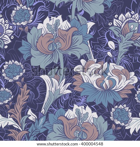 Colorful floral seamless pattern. Flowers background.  - stock vector