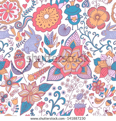 Colorful floral seamless pattern in cartoon style. Seamless pattern can be used for wallpaper, pattern fills, web page background,surface textures. Gorgeous seamless floral background