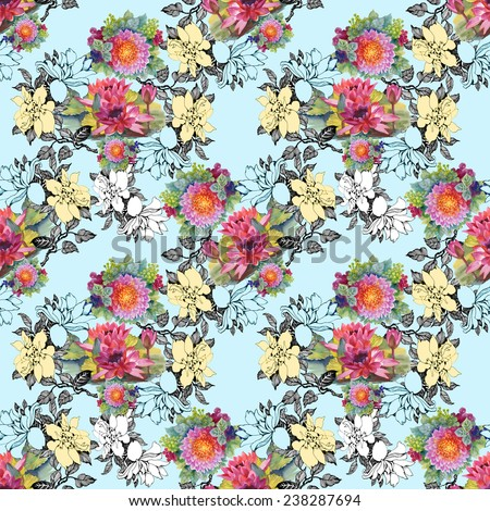 Colorful floral Seamless pattern on blue background vector illustration - stock vector