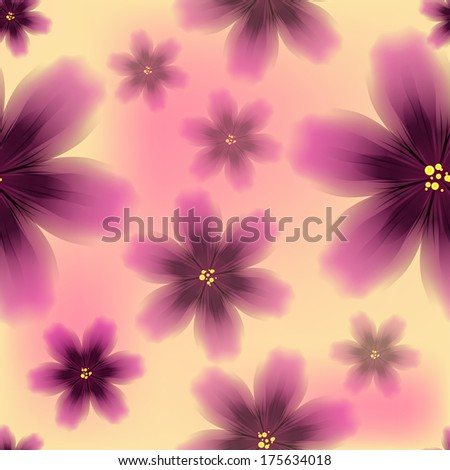 Colorful floral seamless pattern with exotic tropical purple flowers. Vector illustration - stock vector