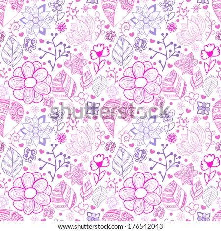 Colorful floral seamless pattern with leaves and flowers.  Doodles ornament theme for your design.