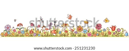 Colorful Flower Border With Lots Of Cartoon Flowers Grass And Butterflies No Gradients