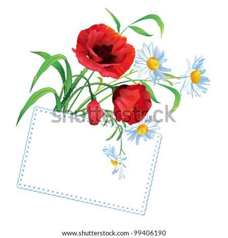 Colorful flower bouquet with greeting card and place for text - stock vector