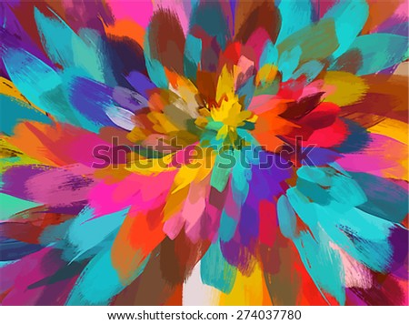 Colorful flower brush strokes background. Vector version - stock vector