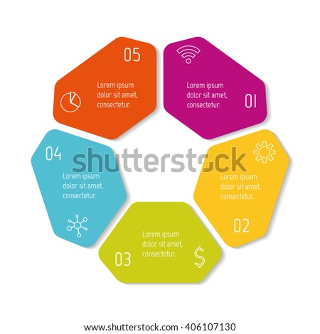 Colorful flower infographic banner template. Circular sequence banner with five options. Round progress banner template with 5 parts. Business infographic design element EPS10. - stock vector