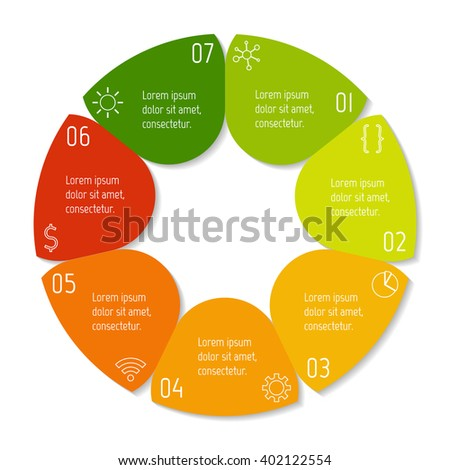 Colorful flower infographic banner template. Circular sequence banner with seven options. Round progress banner template with 7 parts. Business infographic design element EPS10. - stock vector