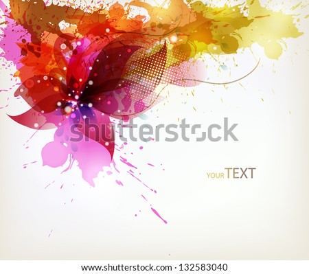 colorful  flower on splattered background. Vector design