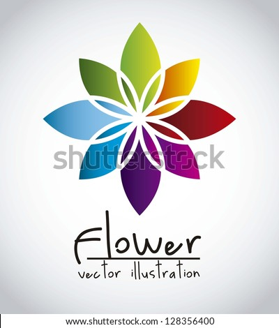 colorful flower over gray background. vector illustration - stock vector