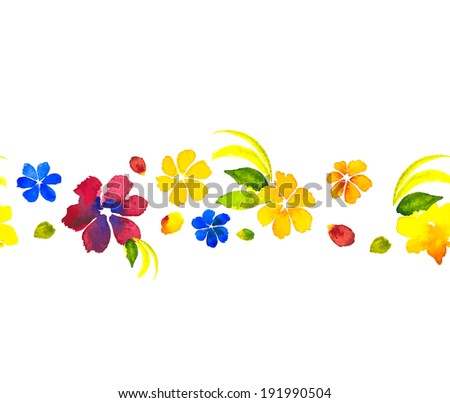 Colorful flower watercolor seamless pattern.  Vector illustration - stock vector
