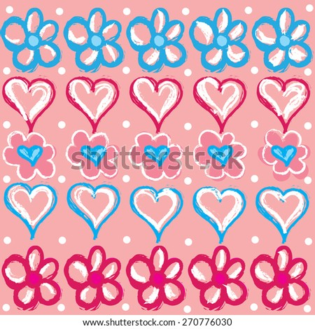 colorful flowers and hearts with dots vector illustration - stock vector