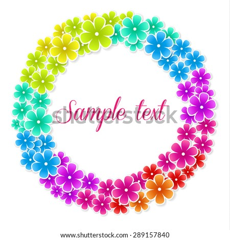 Colorful flowers frame on a background with shadows - stock vector