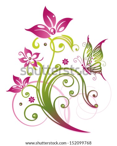 Colorful flowers in pink and green - stock vector
