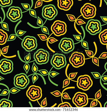 Colorful flowers on black background -  seamless pattern - stock vector