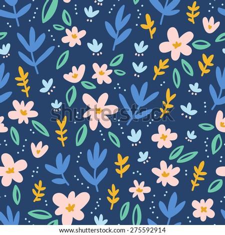 Colorful flowers on deep blue background seamless pattern - stock vector