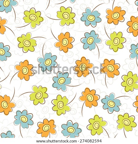 Colorful flowers seamless pattern. Summer floral background. - stock vector