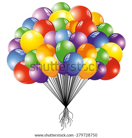 Colorful Flying Balloons  - stock vector