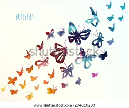 Colorful flying  butterflies background. Vector illustration.