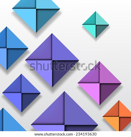 Colorful Folded Paper Background - stock vector