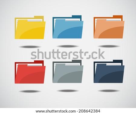 Colorful Folder Icon - stock vector