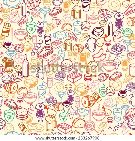 colorful food and drink seamless background, vector - stock vector