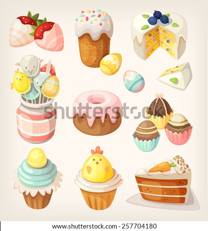 Colorful food for Easter party. Vector - stock vector