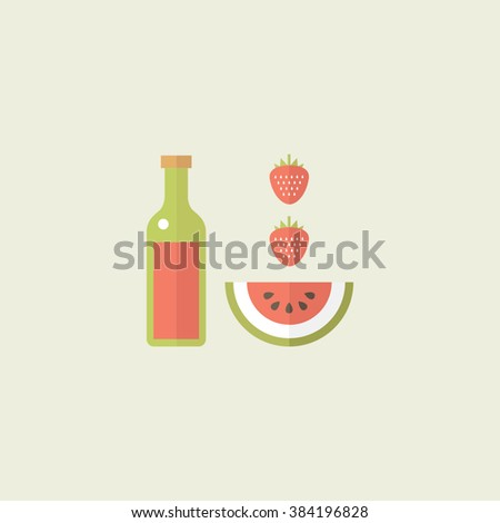 Colorful food icons. Flat design. Yummy juice. Appetizing strawberries and watermelon. - stock vector