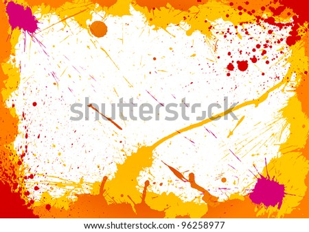 Colorful frame made of ink blots - stock vector