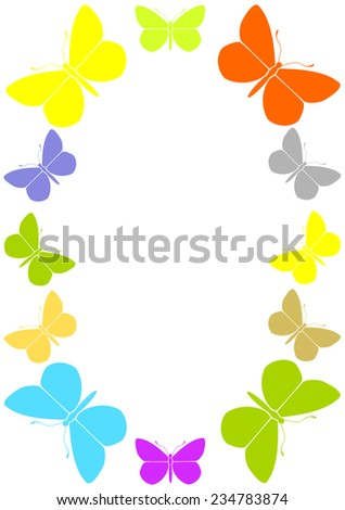Colorful frame with butterflies.  - stock vector
