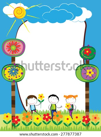 Colorful frame with happy girls and boys