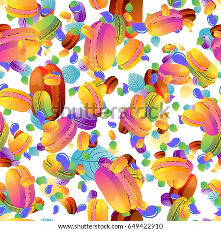 Colorful french macaron cookies with drops, beautiful Seamless background for design, pattern, Vector