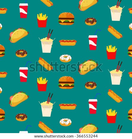 stock vector colorful fresh flat design fast food restaurant pattern wallpaper with dark turquoise blue 366553244 - Каталог — Фотообои «Еда, фрукты, для кухни»