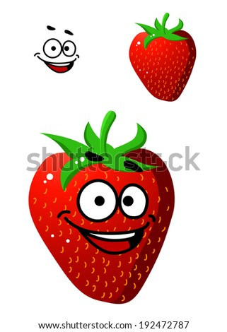 Colorful fresh ripe red strawberry with a happy smile and little green stalk isolated on white