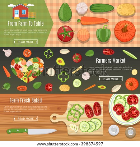 Colorful Fresh Vegetables Flat Horizontal Banners Set.  Vector Illustration
