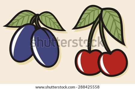 Colorful fruit illustrations - Plums and Cherries (4 of 4) - stock vector