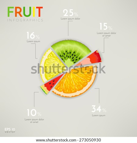 Colorful fruit pie chart, info graphics - stock vector