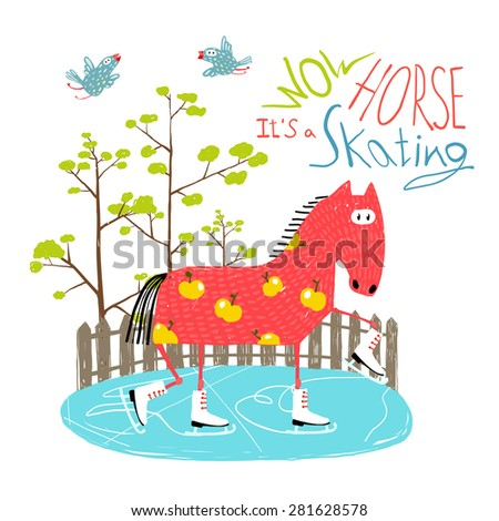 Colorful Fun Cartoon Ice Skating Horse for Kids . Countryside amusing skating baby animal illustration for children. Vector EPS10. - stock vector