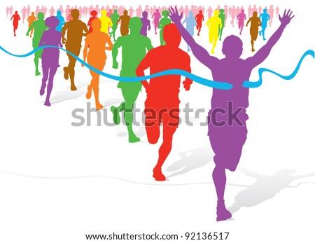 Colorful Fun Run - stock vector