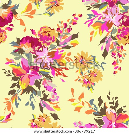colorful funky abstract floral ~ seamless background