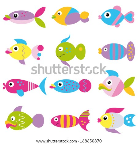 colorful funky fish collection pattern
