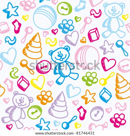colorful funny kid seamless pattern with toys - stock vector