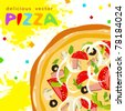 Colorful funny tasty pizza slices greeting card with splatter - stock vector