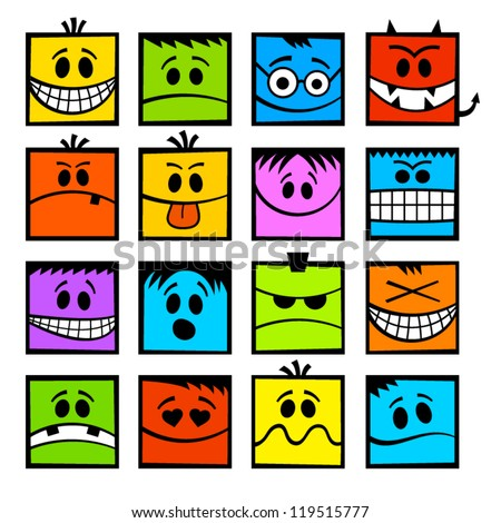 Colorful funny vector emoticons.